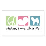Peace, Love, Shar-Pei Sticker (Rectangle 50 pk)