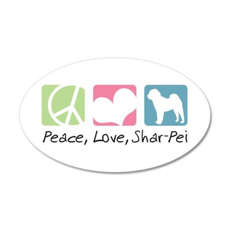 Peace, Love, Shar-Pei 22x14 Oval Wall Peel