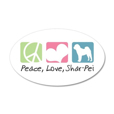 Peace, Love, Shar-Pei 38.5 x 24.5 Oval Wall Peel
