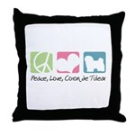 Peace, Love, Coton de Tulear Throw Pillow
