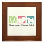 Peace, Love, Coton de Tulear Framed Tile