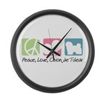 Peace, Love, Coton de Tulear Large Wall Clock