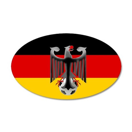 German Soccer Flag 35x21 Oval Wall Decal