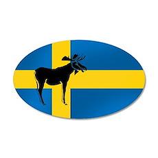 Swedens Elk / Moose Flag 38.5 x 24.5 Oval Wall Pee