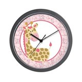 Jungle Jill Pink Giraffe Wall Clock