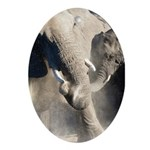 Elephant Dust Bath Ornament (Oval)