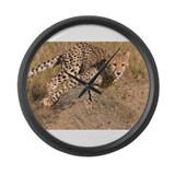 Cheetah On The Move Large Wall Clock