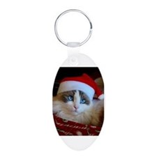 Ragdoll cat in Santa Hat Keychains