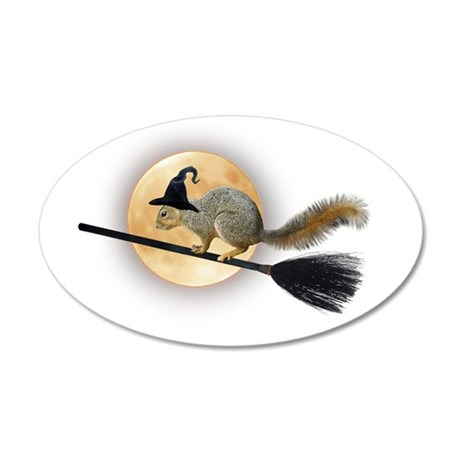 Witch Squirrel 20x12 Oval Wall Decal