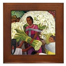 Diego Rivera Cala Lilies Vendor Art Framed Tile