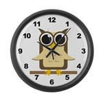Brown Owl Large Wall Clock