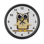 Brown Owl Large Wall Clock
