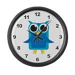 Blue Owl Large Wall Clock