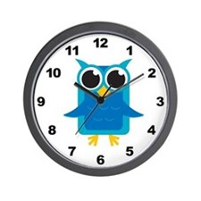 Blue Owl Wall Clock