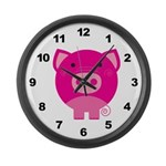 Pink Pig Large Wall Clock