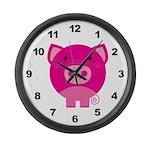 Pink Pig Large Wall Clock