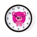 Pink Pig Wall Clock