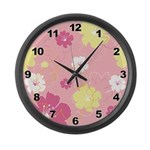 Pink Floral Large Wall Clock
