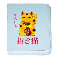 Gold Maneki Neko baby blanket