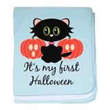 Black Cat First Halloween baby blanket