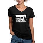 Browning Hi-Power Women's V-Neck Dark T-Shirt