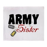 Army Sister Dog Tags Throw Blanket