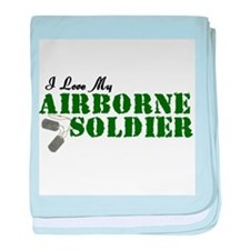 I Love My Airborne Soldier baby blanket