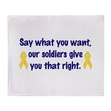 Soldiers Right Throw Blanket