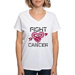 Fight Cancer Women's V-Neck T-Shirt