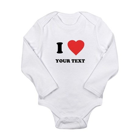 Custom I Heart Long Sleeve Infant Bodysuit