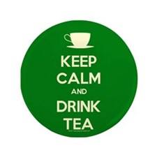 "Keep Calm & Drink Tea (Green) 3.5"" Button (100 pac"