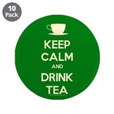 "Keep Calm & Drink Tea (Green) 3.5"" Button (10 pack"
