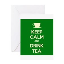 Keep Calm & Drink Tea (Green) Greeting Card