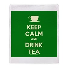 Keep Calm & Drink Tea (Green) Throw Blanket