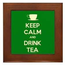 Keep Calm & Drink Tea (Green) Framed Tile