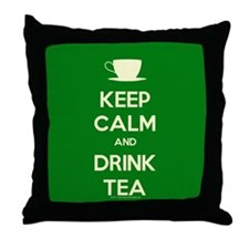 Keep Calm & Drink Tea (Green) Throw Pillow