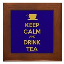 Keep Calm & Drink Tea (Dark Blue) Framed Tile