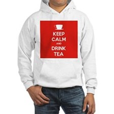 Keep Calm & Drink Tea (White on Red) Hoodie