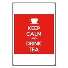 Keep Calm & Drink Tea (White on Red) Banner