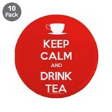 "Keep Calm & Drink Tea (White on Red) 3.5"" Button ("