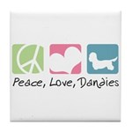 Peace, Love, Dandies Tile Coaster