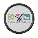 Peace, Love, Dandies Large Wall Clock