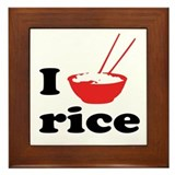 I love rice Framed Tile