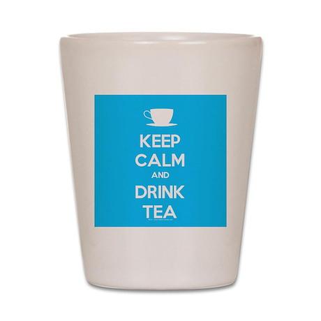 Keep Calm & Drink Tea (Light Blue) Shot Glass