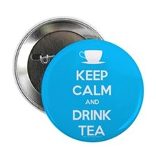 "Keep Calm & Drink Tea (Light Blue) 2.25"" Button (1"