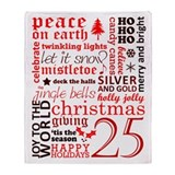 Christmas Words (Red) Throw Blanket
