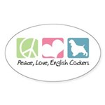 Peace, Love, English Cockers Sticker (Oval 10 pk)