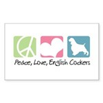 Peace, Love, English Cockers Sticker (Rectangle 50