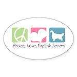 Peace, Love, English Setters Sticker (Oval 50 pk)