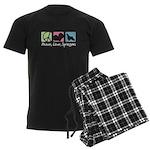 Peace, Love, Springers Men's Dark Pajamas